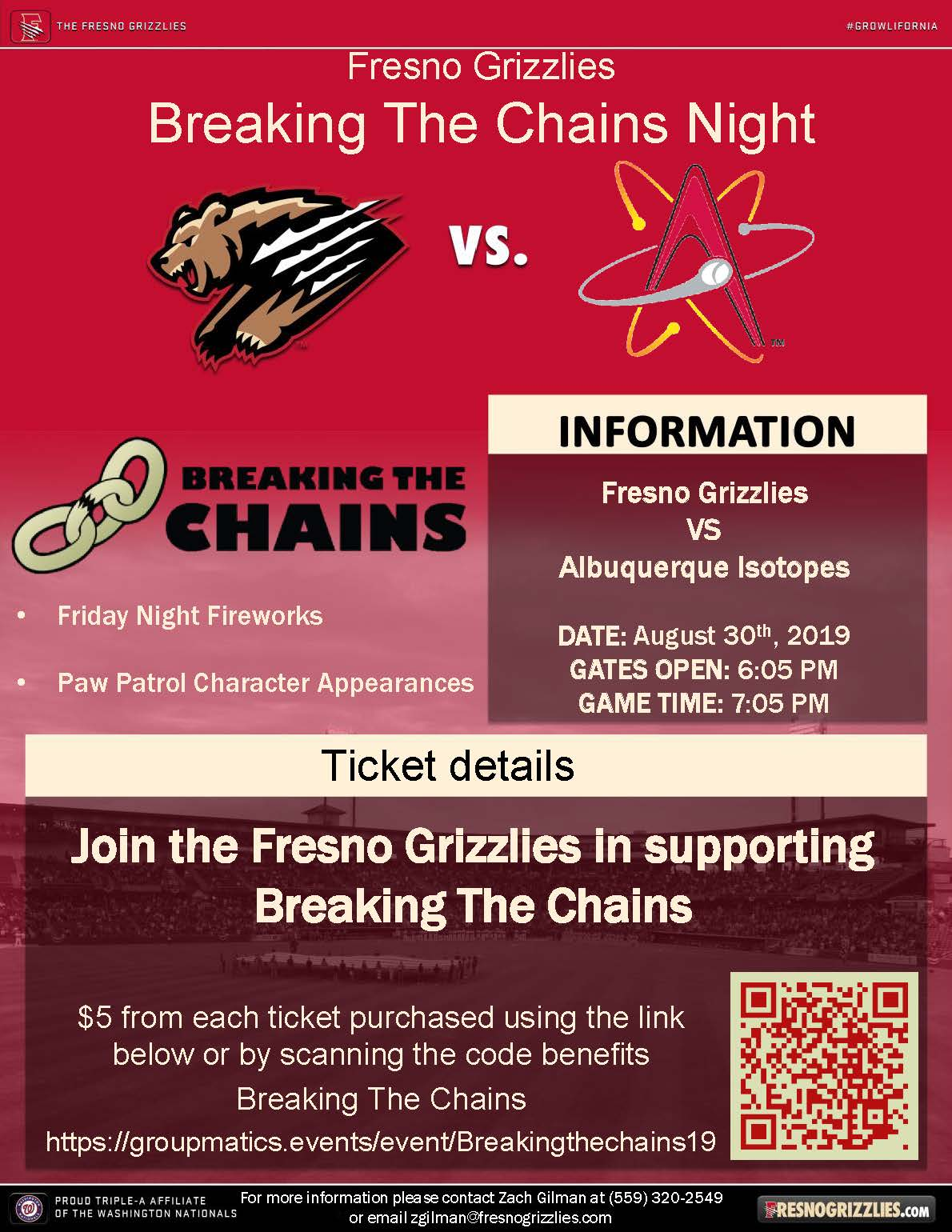 Breaking the Chains Night at Grizzlies Stadium